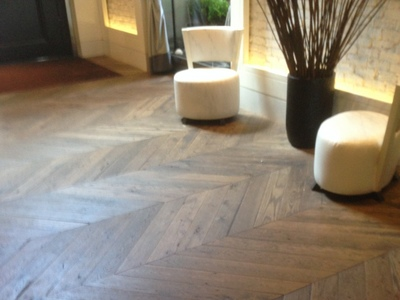 Reclaimed WHITE Oak Distressed Chevron with UV Rubio Pure Oil